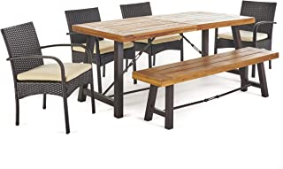 Christopher Knight Home 302558 Belham Outdoor 6 Piece Teak Finished Acacia Wood Dining Set with Multibrown W, Rustic Metal Crème
