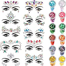 10 Sets Face Gems Glitter Face Rhinestone Stickers Face Crystal Tattoo Set Forehead Decorations with 12 Boxes Body Chunky Face Glitter for Women Mermaid Theme Party Supplies (Style Set 3)
