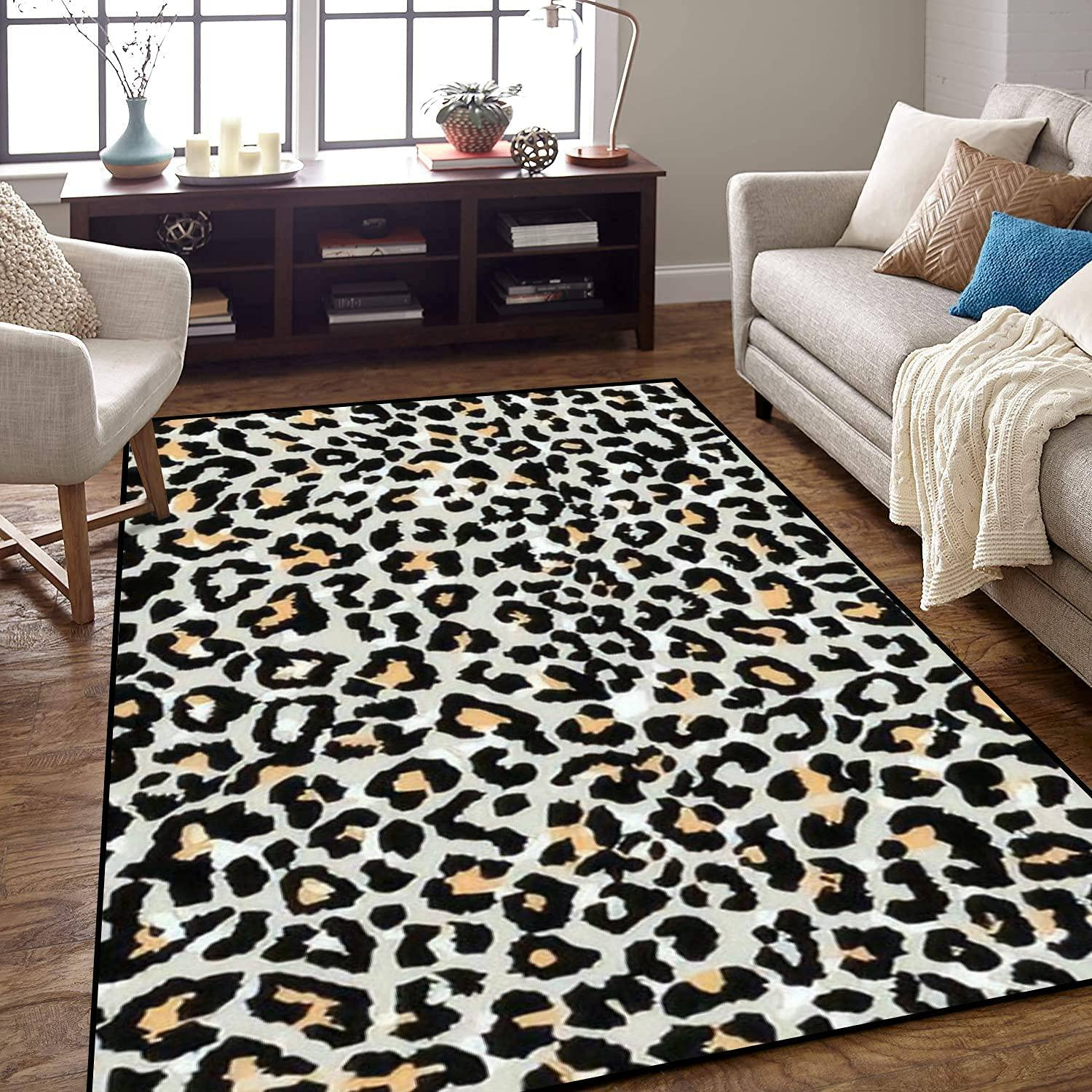 High quality new Area Rug online shopping Non-Slip Floor Mat Leopard Colored Pattern Seamles Wild