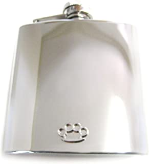 6 Oz. Stainless Steel Flask with Brass Knuckle Pendant