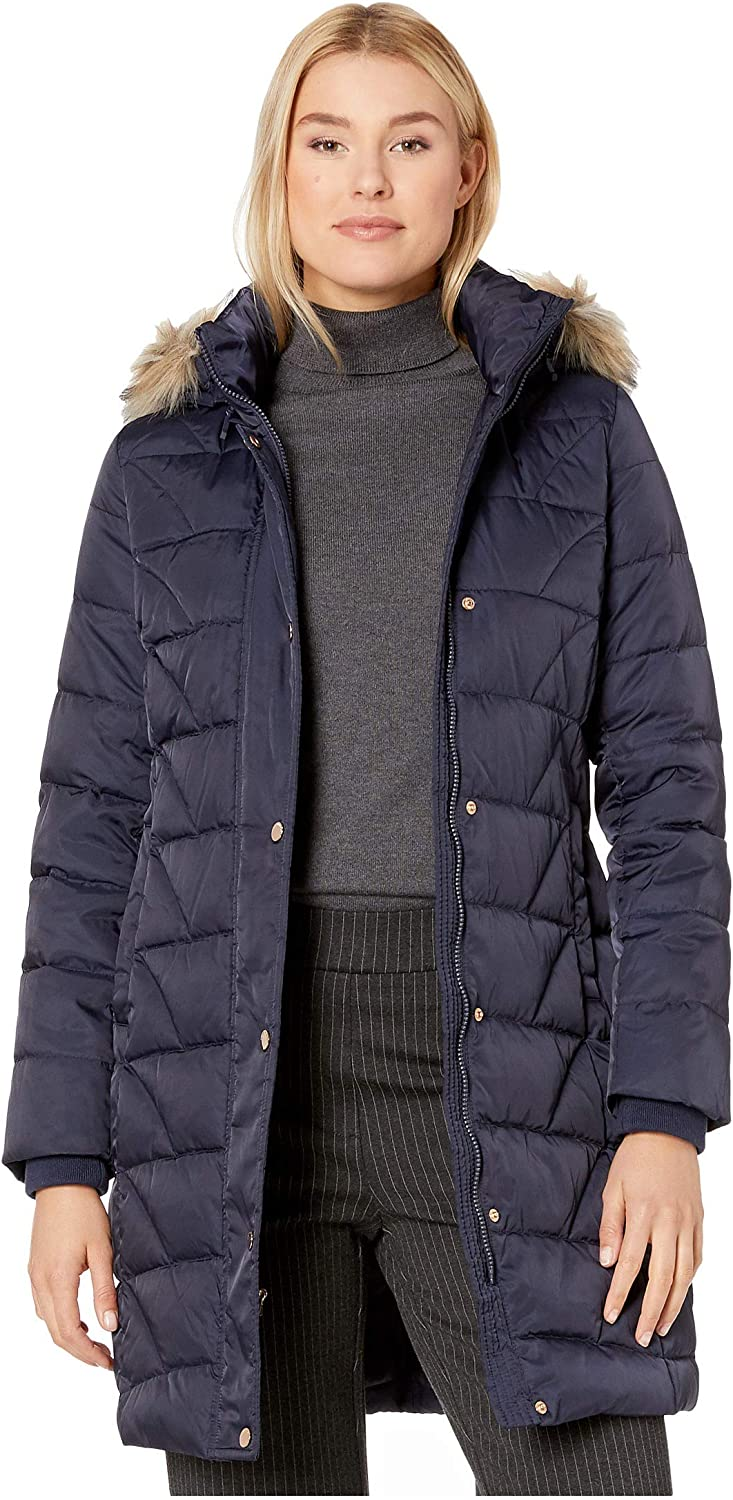 Marc New York by Andrew Marc Women's Medina Down Jacket with Faux Fur Removable Hood