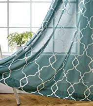 MIUCO Moroccan Embroidery Semi Sheers Curtain Faux Linen Grommet Window Curtains for Bedroom 52 x 95 Inch 2 Panels, Teal
