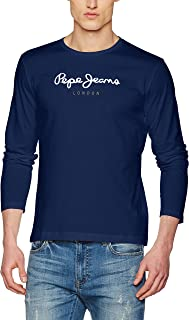 vestibilit/à regolare confezione multipla assortita a maniche lunghe Blu Cherry in cotone pesante Confezione da 2 magliette da uomo in cotone tinta unita stile casual