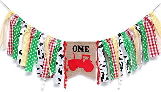 WAOUH Tractor Highchair Banner for 1st Birthday - First Baby Birthday Party Theme Decoration, Fabric Garland Cake Smash Photo Prop,Birthday Souvenir and Gifts (Boy Birthday Banner)