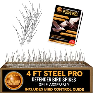 Defender Pro Wide Stainless Steel Bird Spikes | 4 ft | Self Assembly | Guide Book