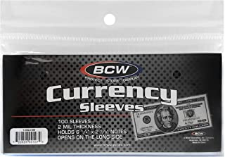 BCW US Currency Clear Sleeves for Regular Bills | 2-MIL Thickness | 6-1/4