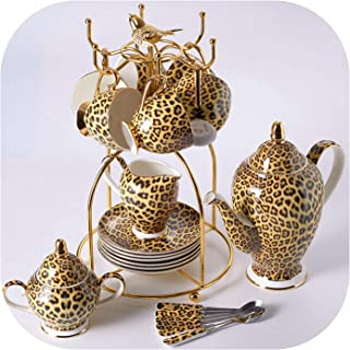 Leopard Print Bone Coffee Set Luxury Porcelain Tea Set Advanced Pot Cup Ceramic Mug Sugar Bowl Creamer Teapot Drinkware,16Pcs Set