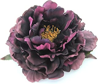 Full 6 Plum Peony Silk Flower Combo Hair Clip/Brooch Pin