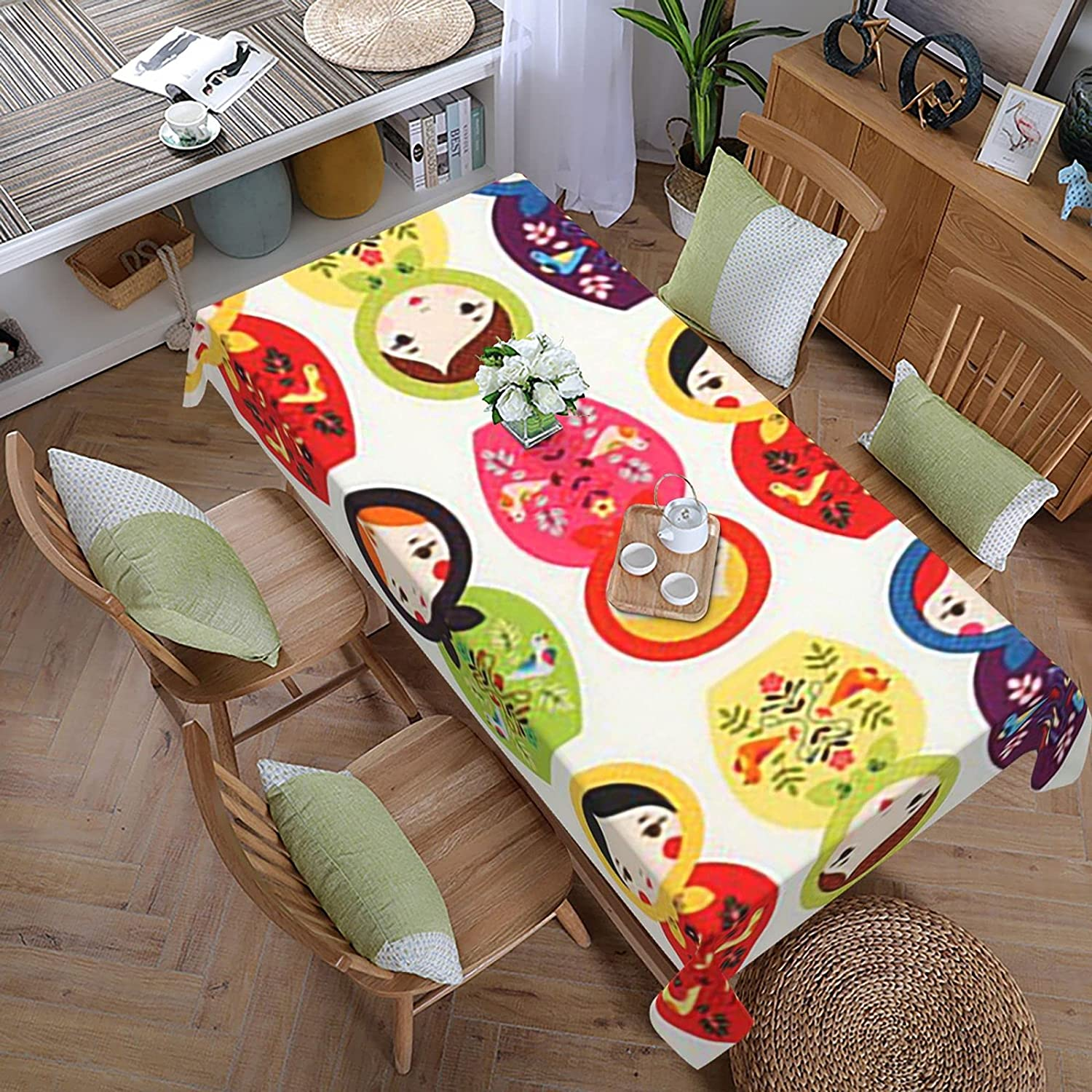 Russian Max 42% OFF Matryoshka Indoor Outdoor Tablecloth Spillproof Spri Gorgeous for