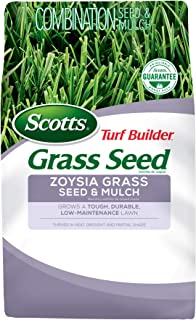 Scotts Turf Builder Grass Seed Zoysia Grass Seed and Mulch, 5 lb. - Full Sun and Light Shade - Thrives in Heat & Drought - Grows a Tough, Durable, Low-Maintenance Lawn - Seeds up to 2,000 sq. ft.