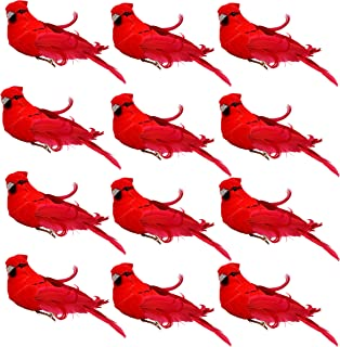 Gift Boutique Bright Red Artificial Christmas Cardinal Birds Clip on Tree Ornaments Pack of 12 Craft Decorations 5 Inch