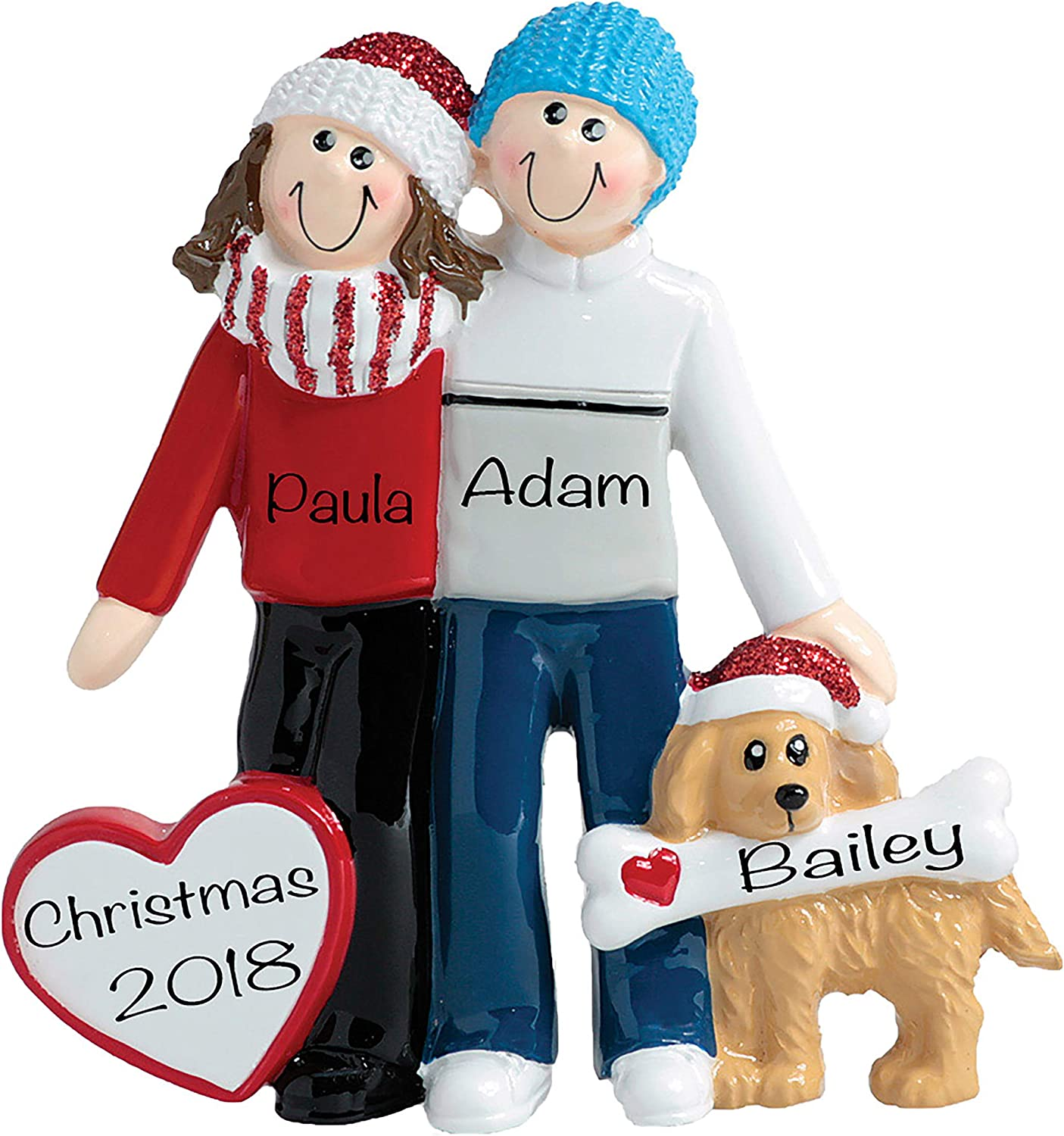 Personalized Christmas Ornaments 2021 - Winter Couple Ornament with Dog – Customized Ornaments for Couples – Polyresin Couple Christmas Ornaments 2021 – Charming, Unique Dogs First Christmas Ornament