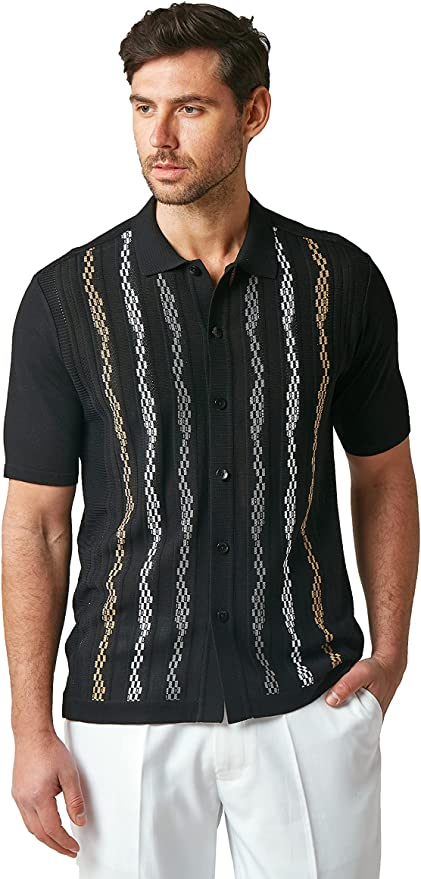 1960s Mens Shirts | 60s Mod Shirts, Hippie Shirts EDITION S Mens Short Sleeve Knit Shirt - California Rockabilly Style: Multi Stripe  AT vintagedancer.com