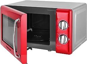 Kalorik TKG MW 2000 RD - Microondas de diseño, 20 L, temporizador de 30 minutos, función de descongelación, puerta de cristal, 700 W, color rojo metálico