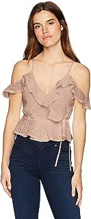 ASTR the label Women's April Cold Shoulder Wrap Front Cami Blouse Top