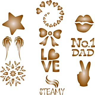 Coffee Set Stencil - 10 Designs - Reusable Barista Stencils for Decorating Cappuccino Coffee Latte Cupcakes Cakes Cookies Scrapbooking and more...