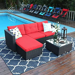 PHI VILLA 3-Piece Patio Furniture Set Rattan Sectional Sofa Wicker Furniture, Red