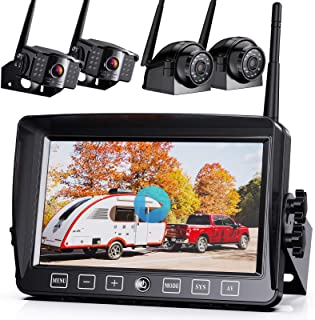 """$409 » Xroose Backup Camera Wireless W/Touch Key DVR 7"""" FHD Monitor for Truck RV Trailer Rear Side View Reversing 4 Back Up Camer..."""