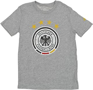 Germany National Football Team Deutscher Fussball-Bund Boys Youth Distressed Graphics Short Sleeve T-Shirt, Heathered Grey