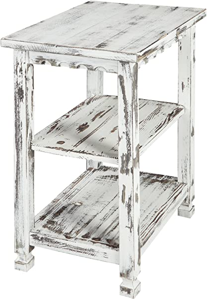Rustic Cottage End Table With 2 Shelves White Antique