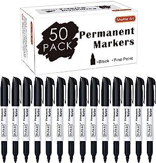 نشانگر دائمی، Art Shuttle 50 Pack Black مجموعه دائمی دائمی، Point Fine، بر روی پلاستیک، چوب، سنگ، فلز و شیشه برای Doodling، علامت گذاری