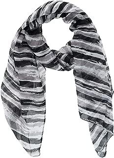 CTM Women's Soft Striped Plush Winter Scarf