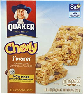 Quaker Chewy Granola Bar, S'mores, 8-Count (Pack of 6)