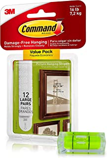 Command Picture Hanging Kit| Damage-Free Hanging Strips & Leveler| Perfect for Hanging Small & Large Frames, Photos, Pictures on Walls & More| No Nail/Hook Damage| Easy Hanging (12 Pairs & Level)
