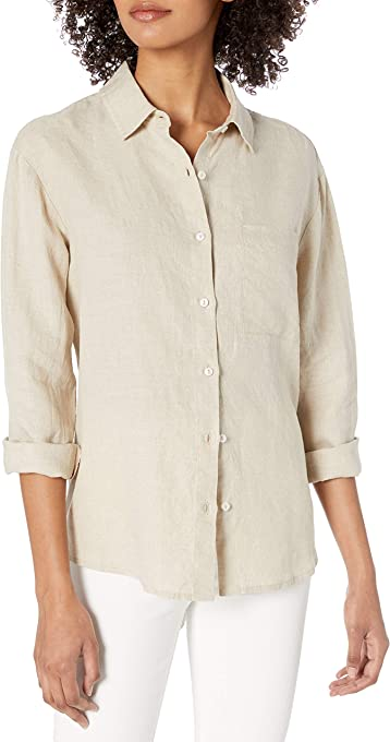 The Drop Women's June Relaxed-Fit One Pocket Shirt