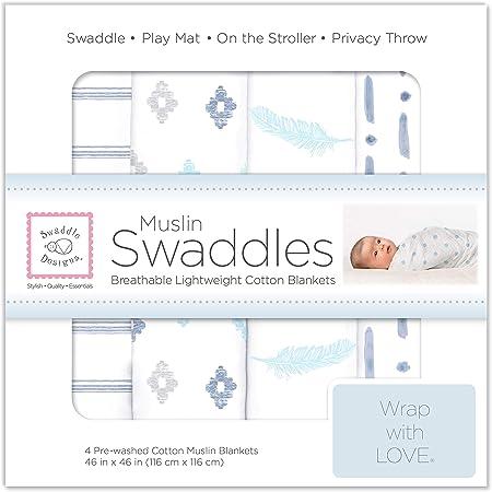 SwaddleDesigns Cotton Muslin Swaddle Blankets, Set of 4, Denim Indigo