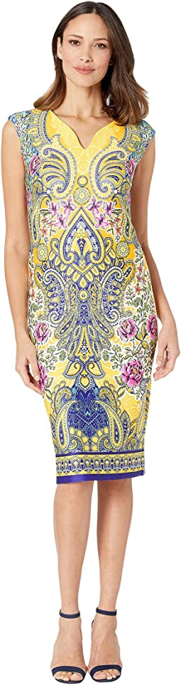 V-Neck Paisley Printed Scuba Dress