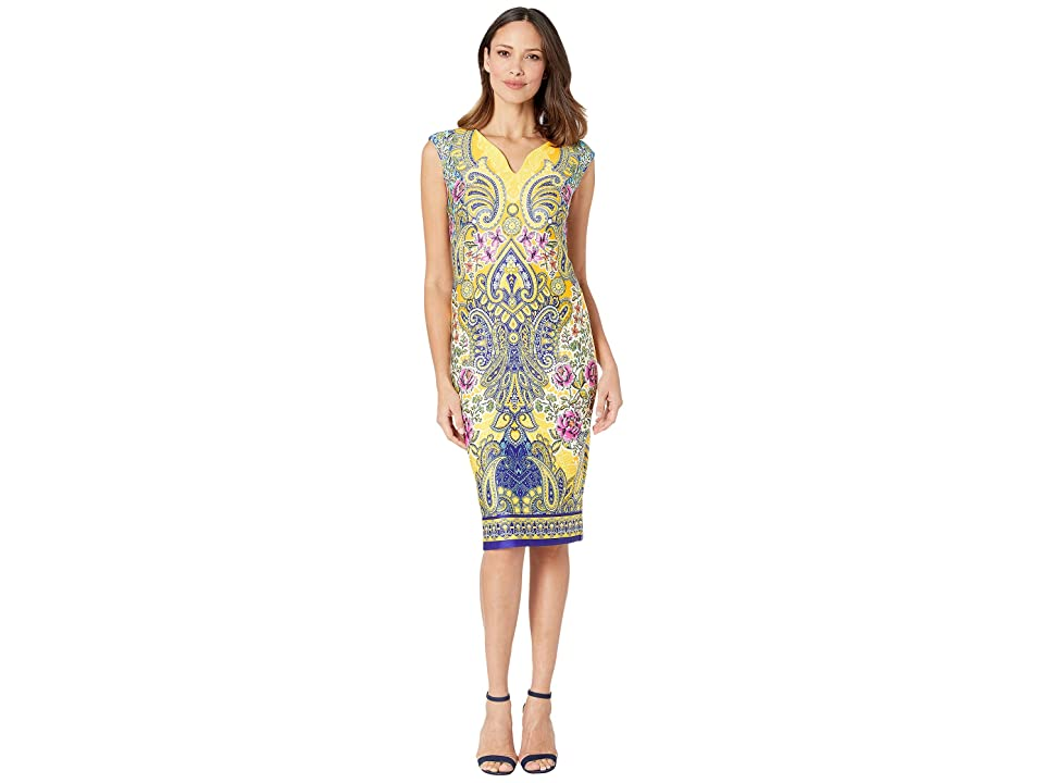eci V-Neck Paisley Printed Scuba Dress (Yellow) Women
