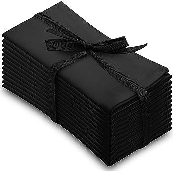Aunti Em's Kitchen Black Cotton Dinner Napkins Cloth 12 Pack 20x20 100% Natural Oversized Bulk Linens for Dinner, Events, Weddings, Set of 12, Tuxedo Black
