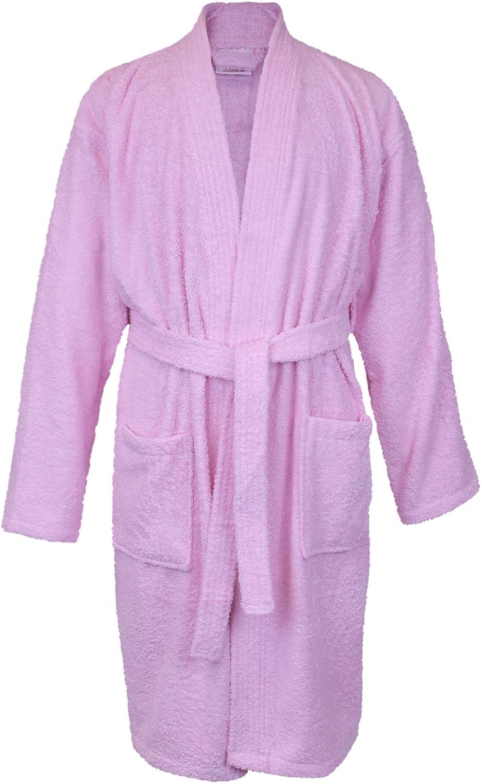 BC BARE COTTON 100% Turkish Women Terry Kimono Robe, One Size, Pink