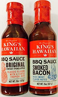 King's Hawaiian BBQ Sauce 15oz (2 pack) 1 Original Sweet Pineapple, 1 Smoked Bacon