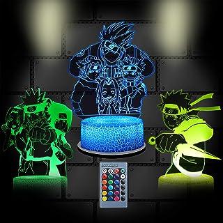 3D-illusion anime nattlampa, 3 mönster (Uchiha Itachi/Uzumaki Naruto/Kakashi)16 färger Naruto lampa med fjärrkontroll och ...
