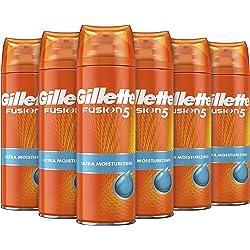 Gillette Fusion5 Gel de Afeitar Hombre Ultra Hidratante, 200 ml - Pack de 6