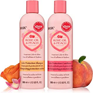 HASK ROSE OIL + PEACH Shampoo and Conditioner Set Color Protecting - Color safe, gluten-free, sulfate-free, paraben-free A...