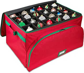 Premium Christmas Ornament Storage Box - Holds Up to 72 Ornaments, Holiday Decoration Organizer - Durable 600D Canvas with Self-Standing Steel Frame Design for Maximum Durability