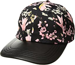 Collection XIIX - Silk Floral Baseball Hat with PU Brim