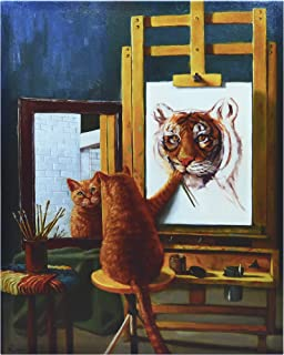 Empire Art Direct Norman Catwell Cat Wall, Graphic Art Print on Wrapped Canvas Contemporary,Ready to Hang,Living Room,Bedroom & Office, 16 x 2 x 20, White,Brown
