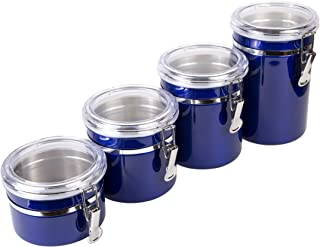 Creative Home 50284 4-Pieces Stainless Steel Canister Container Set, 26 oz, 36 oz, 47 oz, 62 oz, Metallic Blue