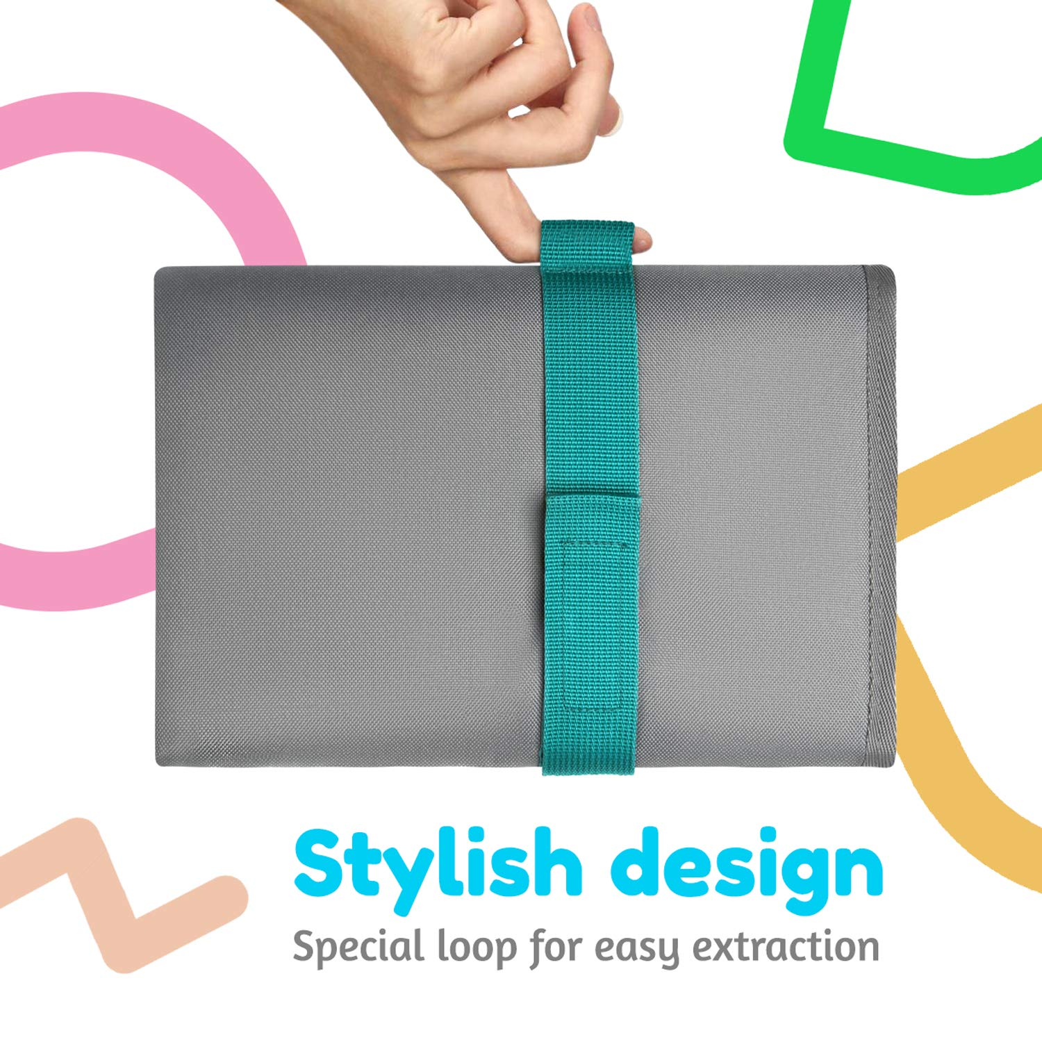 Toolik Baby Diaper Changing Pad, Extra Large (27.5 x 19.7 inch) Waterproof Mat for Stroller Walks or Diaper Bag, Fits Newborn and Toddler for Quick Change on The go, Grey
