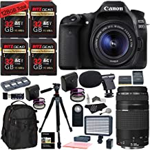 Canon EOS 80D DSLR 18-55mm is STM Camera Kit, 128 GB of Memory Cards (U3), 75-300mm Lens, Camera Bag, Ritz Gear 60