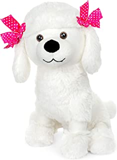 Giftable World Plush Poodle Dog with Pink Ribbons Stuffed Animal Toy 11 inches White
