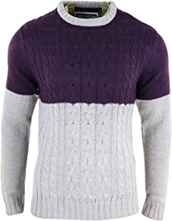 Mens Knitted Wool Feel Jumper Chunky Smart Casual Warm Winter Top