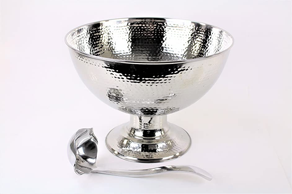HAMMERED STAINLESS STEEL PUNCH BOWL 4 GALLON(AND LADLE)