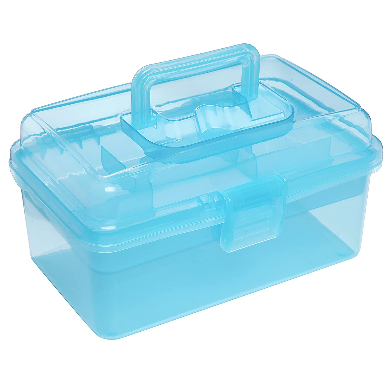 Clear Blue Multipurpose First Aid, Arts & Craft Supply Case/Storage Container Box w/Removable Tray