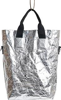 von elstern Tasche Silber Shopper Handtasche Schultertasche veganes Leder