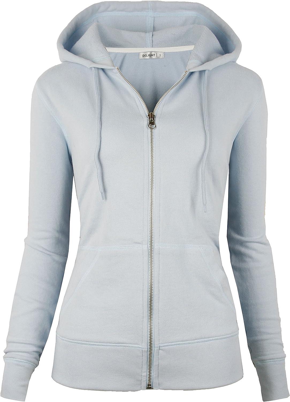 DELight Women's French Terry Regular Fit Zip up Hoodie